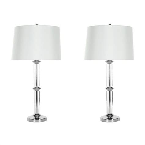 Glass Table Lamp With Shade Geneva White Set Of 2.