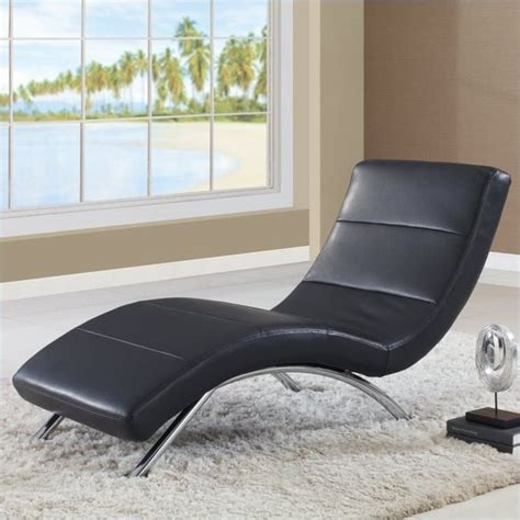 Global Furniture Usa Leather Chaise With Chrome Legs In .