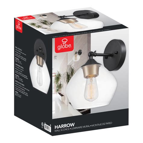 Globe Electric Harrow 1-Light Matte Black Wall Sconce With .