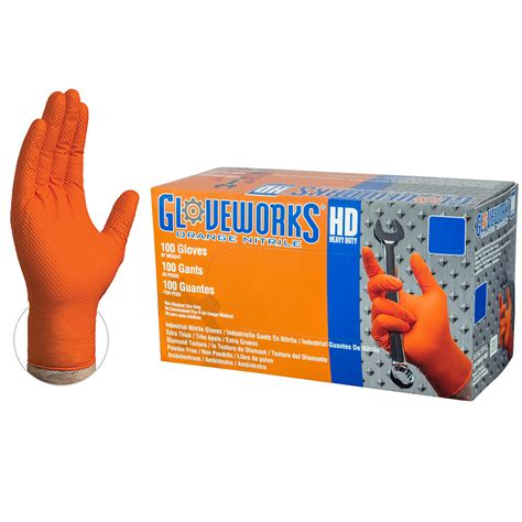 Gloveworks Hd Orange Nitrile Industrial Latex - Ammex.