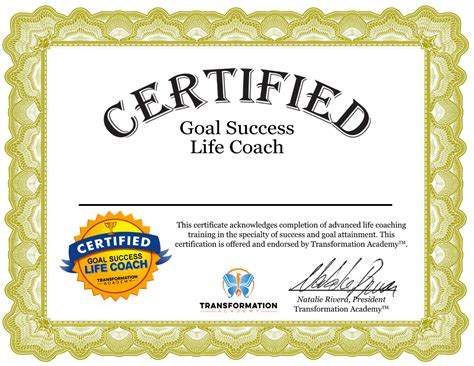 Goal Success Life Coach Certification - Transformation Academy.