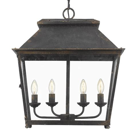 Golden Lighting Abingdon Antique Black Iron Four Light .