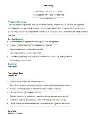 good resume objective for bank teller good resume for bank teller