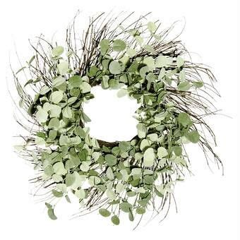 Gracie Oaks Twig And Moss Artificial Spring Wreath .