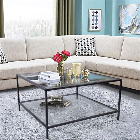 Great Deal Furniture Classon Glass Rectangle Coffee Table .
