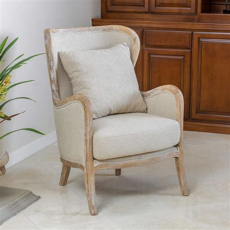 Great Deal Furniture Milton  Fabric And Oak Wing Chair .