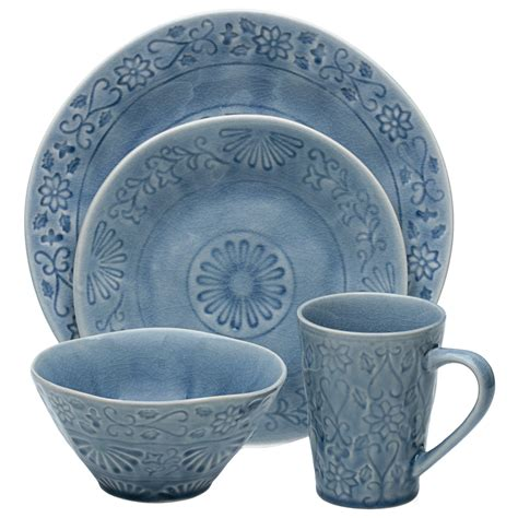 Great Deal On 16-Piece Huron Dinnerware Set Blue.