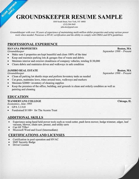 cv layout design groundskeeper job description for resume