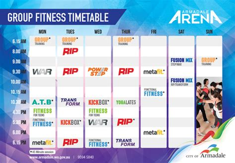 [pdf] Group Fitness Timetable - City Of Armadale.