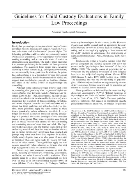 [pdf] Guidelines For Child Custody Evaluations In Family Law .