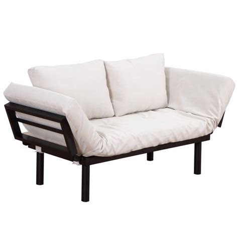 Homcom Convertible 3-Position Futon Daybed Lounger Sofa Bed   Black Cream White.