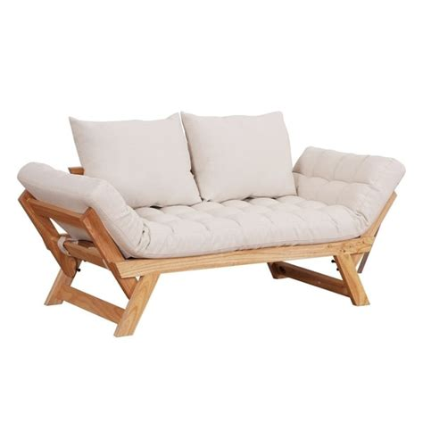Homcom Couch Chaise Lounger Sofa Bed - Cream White .