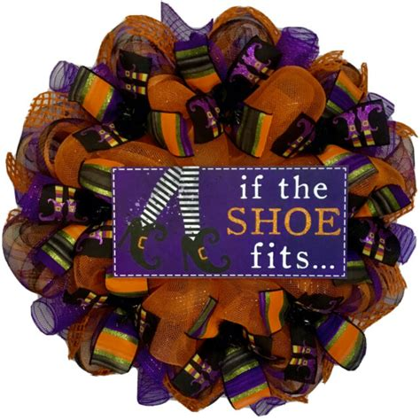 Halloween Witch Wreath Handmade Deco Mesh If The Shoe Fits