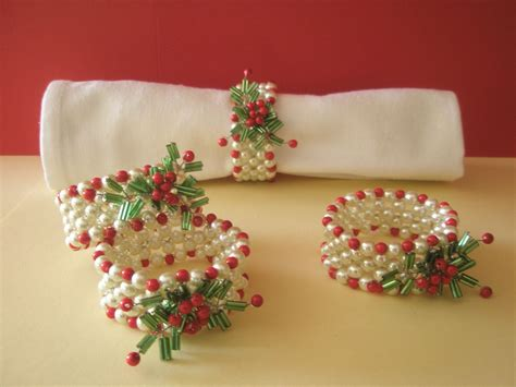 Hand Beaded Napkin Rings Set Of 4 Christmas By .