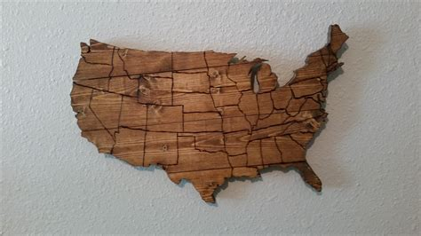 Handmade Wooden Wall Map