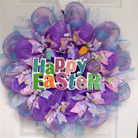 Happy Easter Lavender Wreath With Bunny Handmade Deco Mesh .