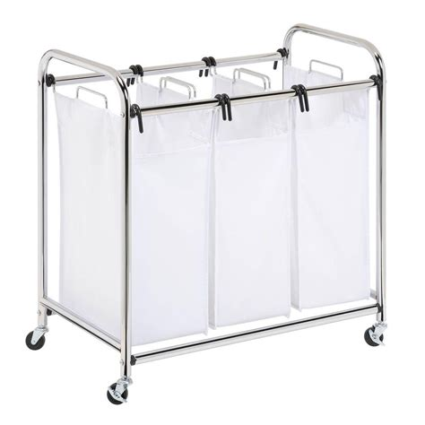 Heavy Duty Triple Laundry Sorter Chrome White Laundry Organizer.