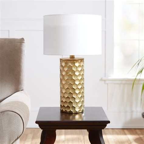 Hive Gilded 21 In Gold Table Lamp With Linen Shade.