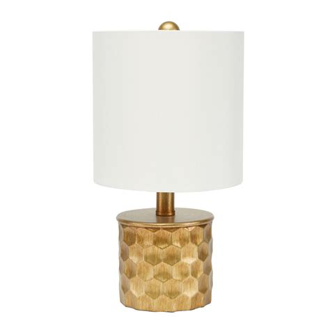 Hive Mini Gilded 15 5 In Gold Table Lamp With Linen Shade.