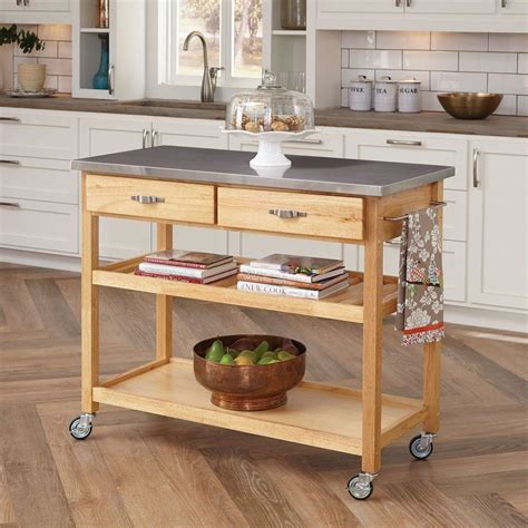 Home Styles Natural Kitchen Cart With Stainless Top-5217 .