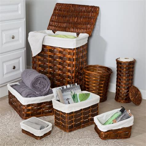 Honey Can Do Wicker Combo Hamper - Set Of 7 Chocolate .