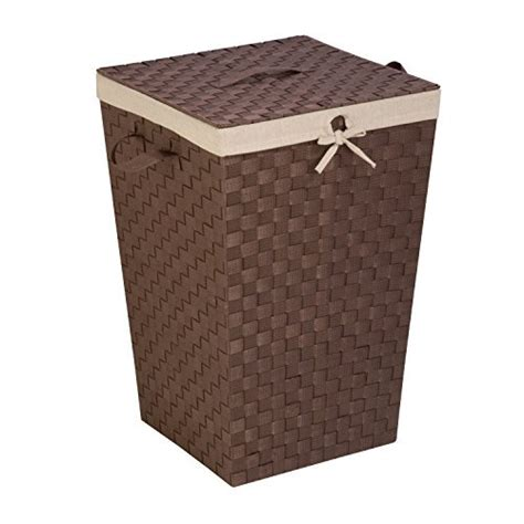 Honey-Can-Do Decorative Woven Hamper With Lid Java Brown.