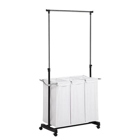 Honey-Can-Do Rolling Laundry Cart With Hanging Bar.