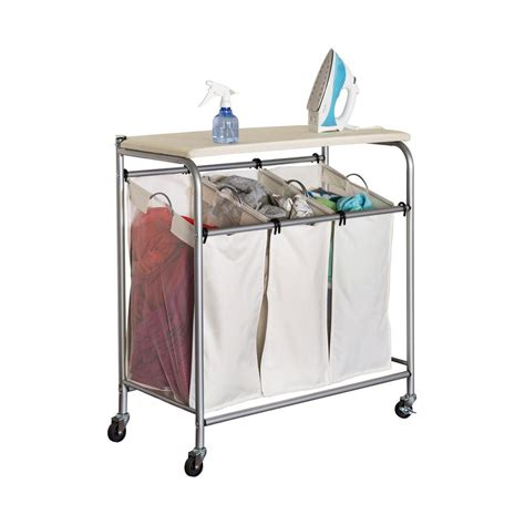 Honey-Can-Do Rolling Laundry Sorter With Ironing Board-Srt .