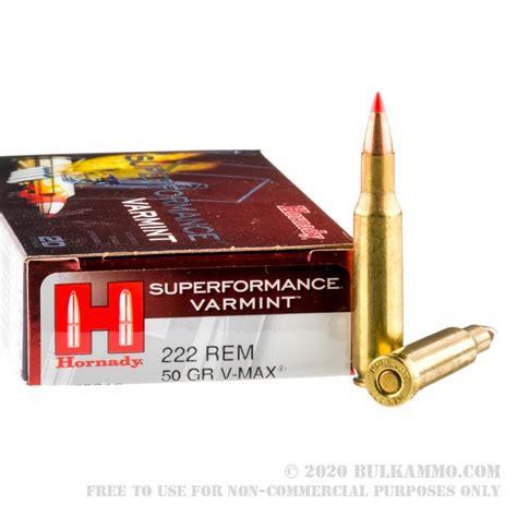 Hornady 222 Remington 50gr V-Max  Ammo - 20 Rounds.