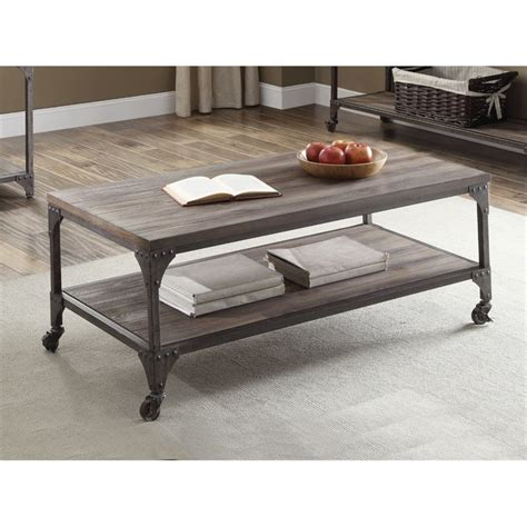 Hot Sale Acme Gorden Coffee Table Weathered Oak .