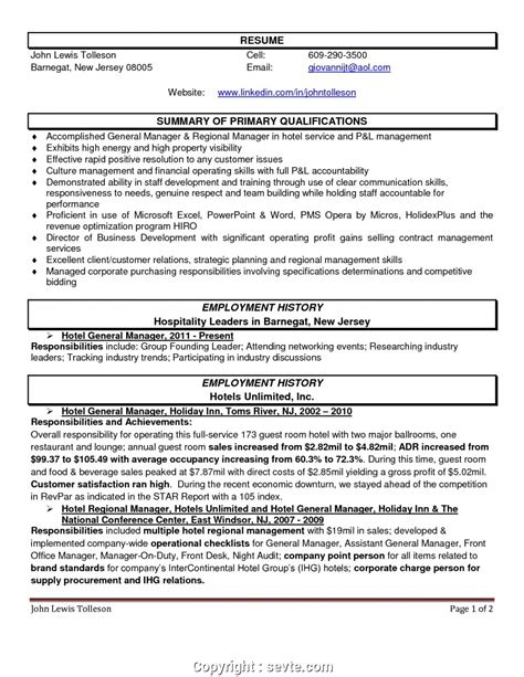 Hotel Assistant Manager Resume Sample