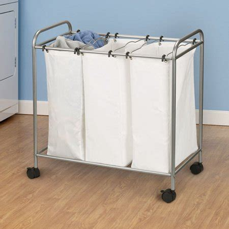 Household Essentials Black Canvas Laundry 3 Bag Sorter .