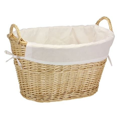 Household Essentials Natural Willow Laundry Basket With .