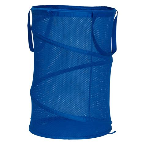 Household Essentials Rolling Pop-Up Laundry Hamper Blue .