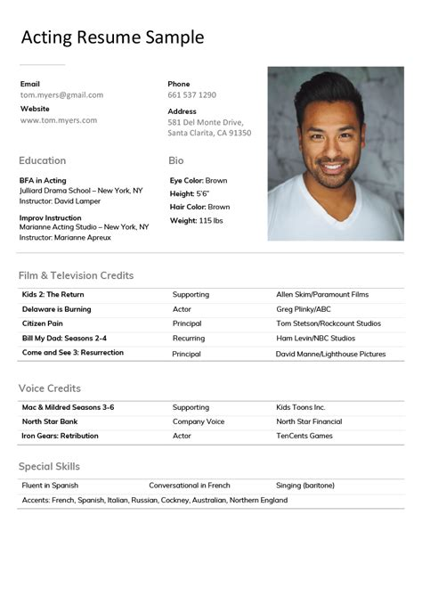 acting resume template. Resume Example. Resume CV Cover Letter