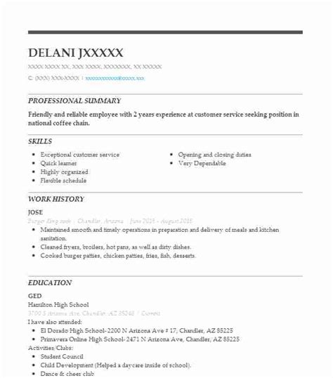 how to write a resume for burger king