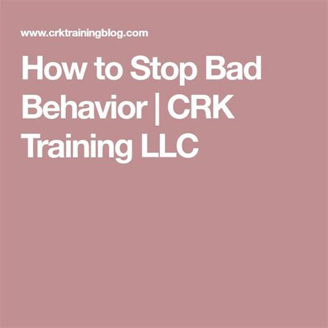 How To Stop Bad Behavior Crk Training Llc.