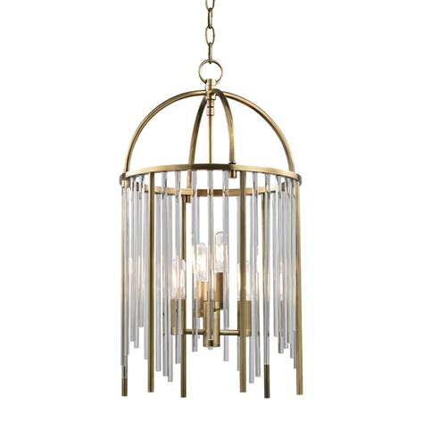 Hudson Valley 2512-Agb Lewis 4 Light Pendant In Aged Brass.