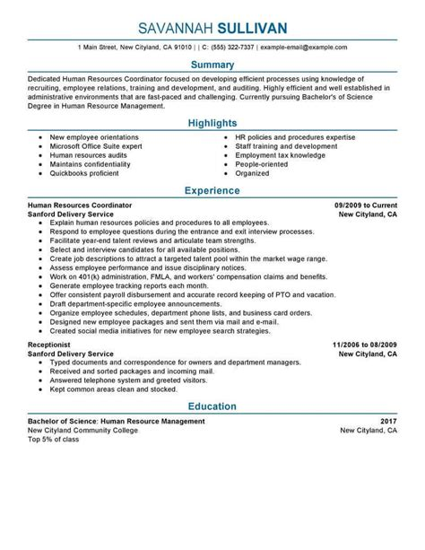human resources resume summary what do i need to include in a resume resume format college student