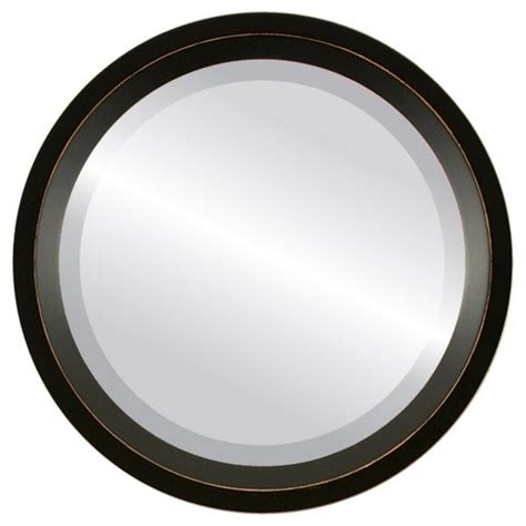 Huntington Framed Round Mirror - Rubbed Black.