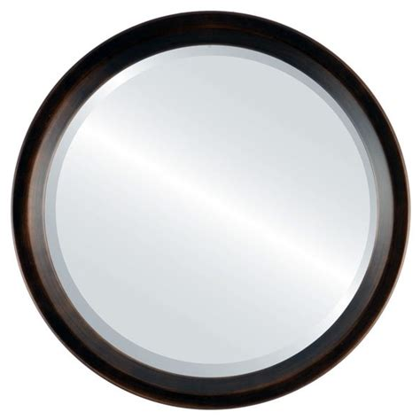 Huntington Framed Round Mirror - Rubbed Bronze.