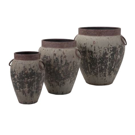 Imax Argetile Rustic Planters Patio Decor Set Of 3 From .