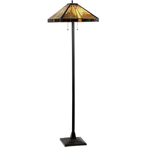 Innes Tiffany-Style 2 Light Mission Floor Lamp 18 Shade.