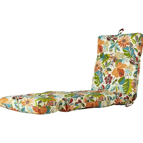 Indoor Outdoor Floral And Bird Chaise Lounge Cushion.