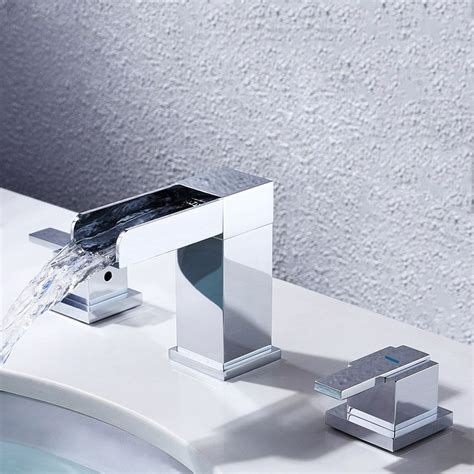 Installing Mero Waterfall Modern Widespread Bathroom Sink Faucet 2 Handles Chrome.