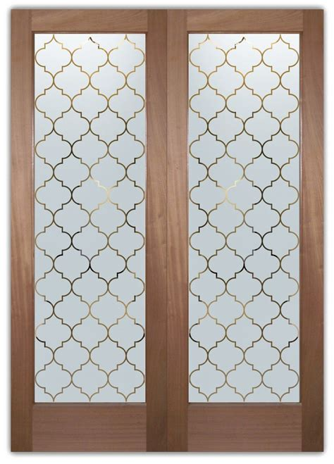 Interior Frosted Glass Doors Etched Ogee Pattern Door .