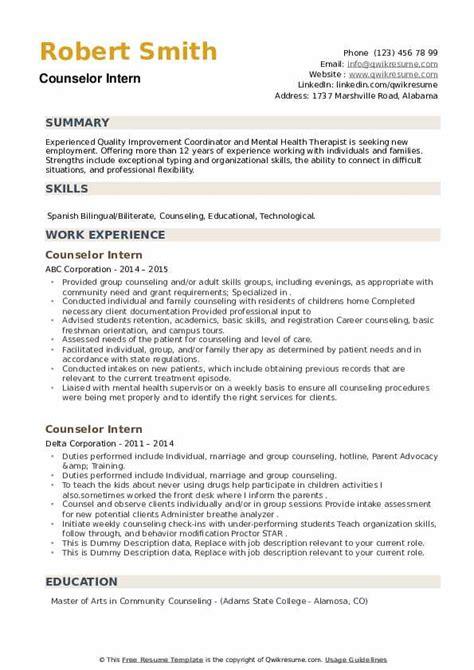internship counseling resume