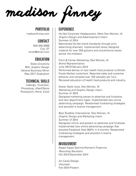 internship resume graphic design graphic design intern resume