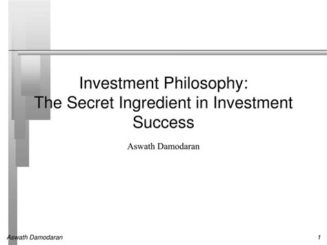[pdf] Investment Philosophy The Secret Ingredient In Investment .