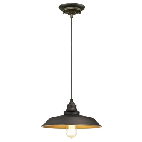 Iron Hill 1-Light Oil Rubbed Bronze Pendant - The Home Depot.